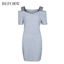 BEFORW Summer Women Dress Sexy V Collar Dresses Fashion Gray Backless Short Sleeve Womens Clothing Casual Dress Vestidos(China)