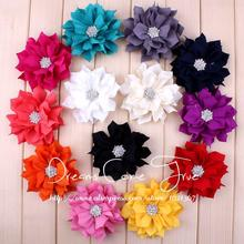 "50pcs/lot 3"" 13Colors Vintage Artificial Fabric Lotus Flower For Headbands With Rhinestone Button For Baby Girls Headbands(China)"