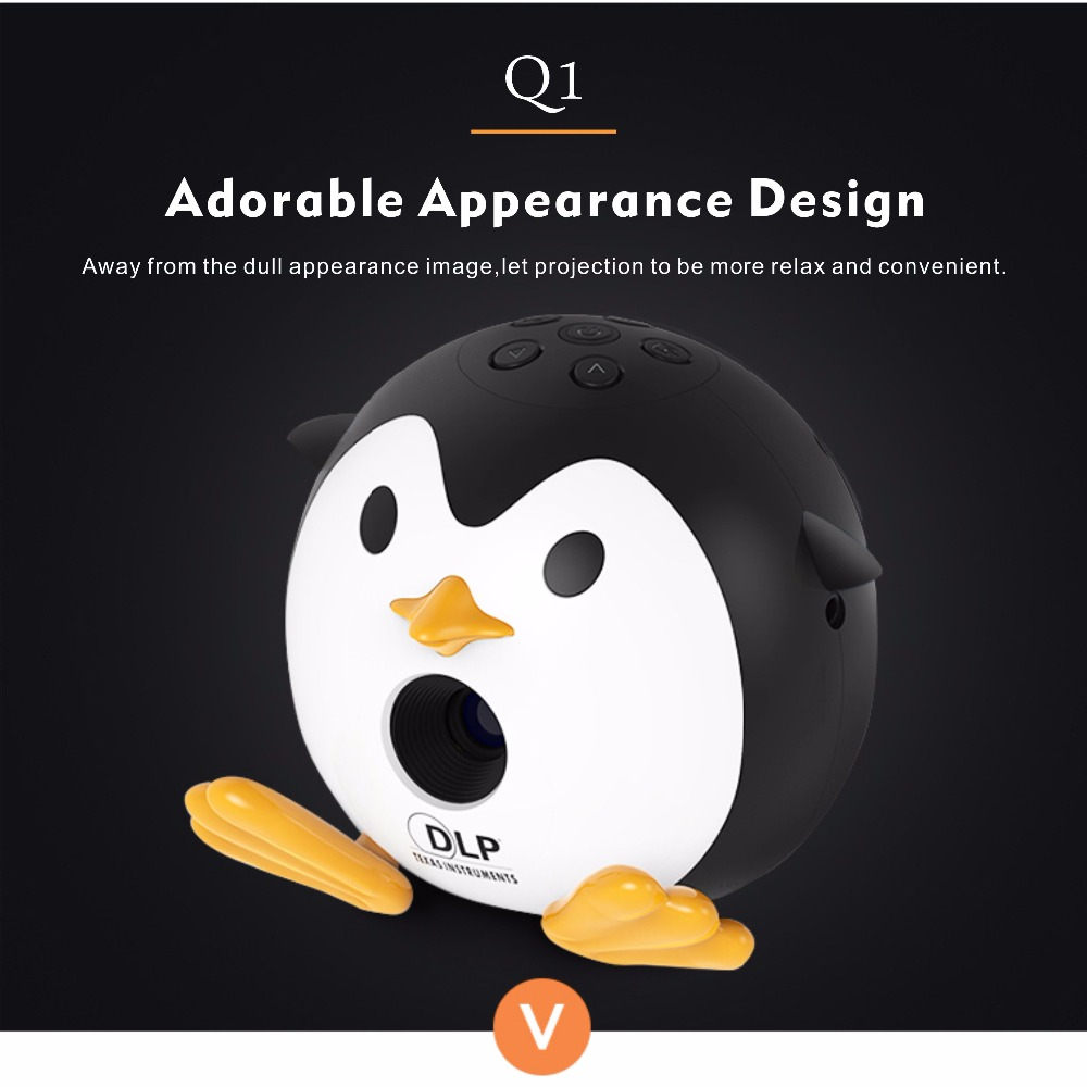 400Lumen Cute Penguin WIFI Micro DLP Mobile LED Projector Support 1080P TF USB HDMI AV & IOS Android Input with Battery Built-in_12