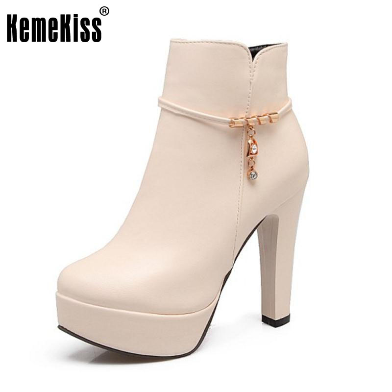 KemeKiss Size 31-43 Ladies Thick High Heels Mid Calf Winter Boots Female Round Toe Zip Platform Shoes Women Warm Handmade Botas<br>