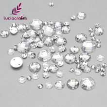 Lucia Crafts 4/6/8/10/12mm Clear Acryl Sew-on Round Flatback Rhinestone Accessory DIY Sewing Crafts Materials 003018032(China)