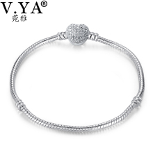 V YA Crystal Bangle Bracelets for Women Snake Bracelet for Beads Charms DIY Jewelry Woman's Best Gift