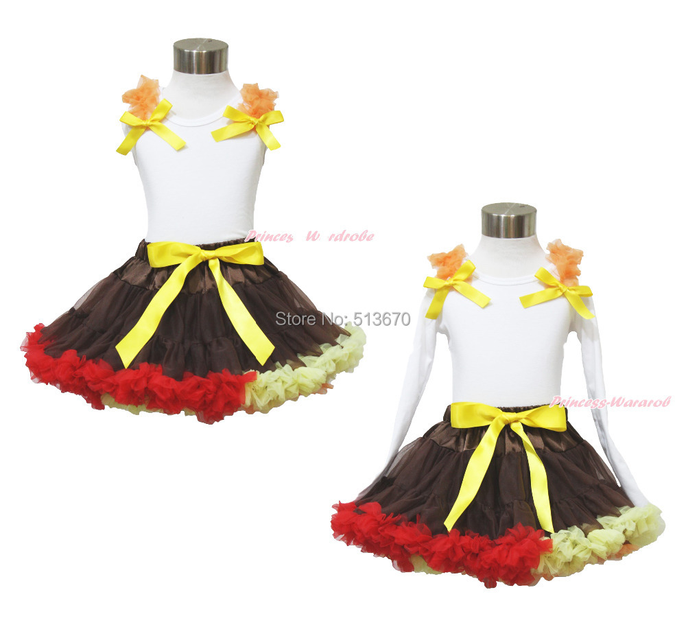 Thanksgiving Orange Ruffle Yellow Bow White Top Shirt Brown Girl Pettiskirt 1-8Y MAPSA0026<br>