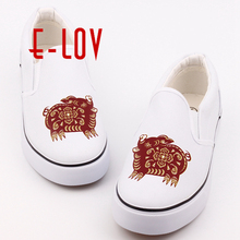 E-LOV Personality Design Chinese Style 12 Symbolic Animals Printed Canvas Shoes Women Girls Casual Loafers Flat Lazy Shoes(China)