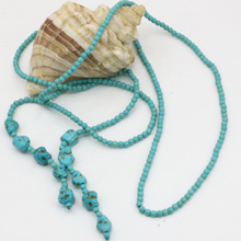 Trendy long chain necklace for women fashion statement 4mm calaite turquoises stone round beads elegant jewelry 50inch B3190