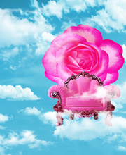 Blue Sky White Cloud Photography Backdrops Children Photos Pink Chair with Red Flowers Photo Background Digital Printed Backdrop