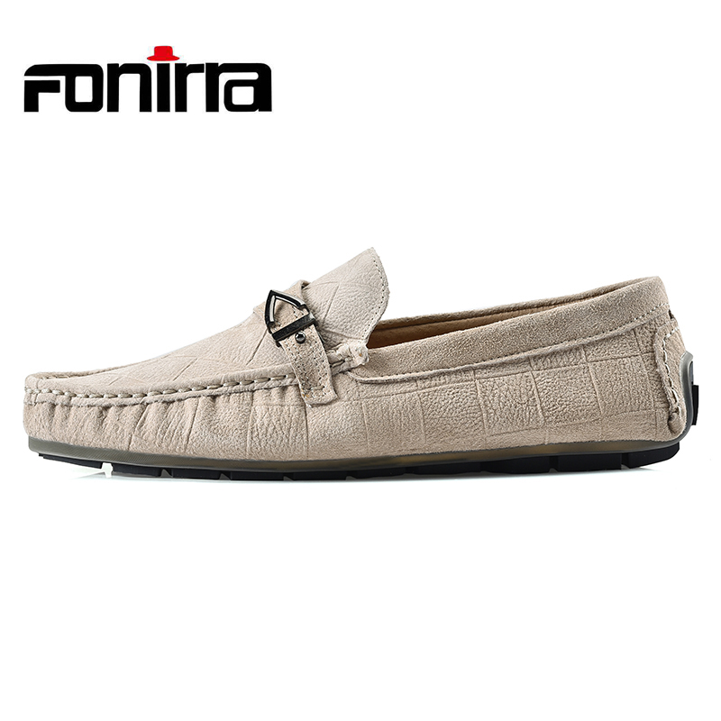 FONIRRA Fashion Mens Slip On Casual Shoes Genuine leather Male Breathable Flat Driving Shoes Soft Moccasins Loafers  752<br>