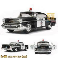 High Simulation Exquisite Baby Toys CHEVROLET Bel Air 1957 Police Car 1:40 Alloy Sports Car Model Best Gift
