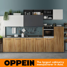 360cm Width Standard Kitchen Cabinet with Wood Grain Melamine Finish OP17-M01(China)
