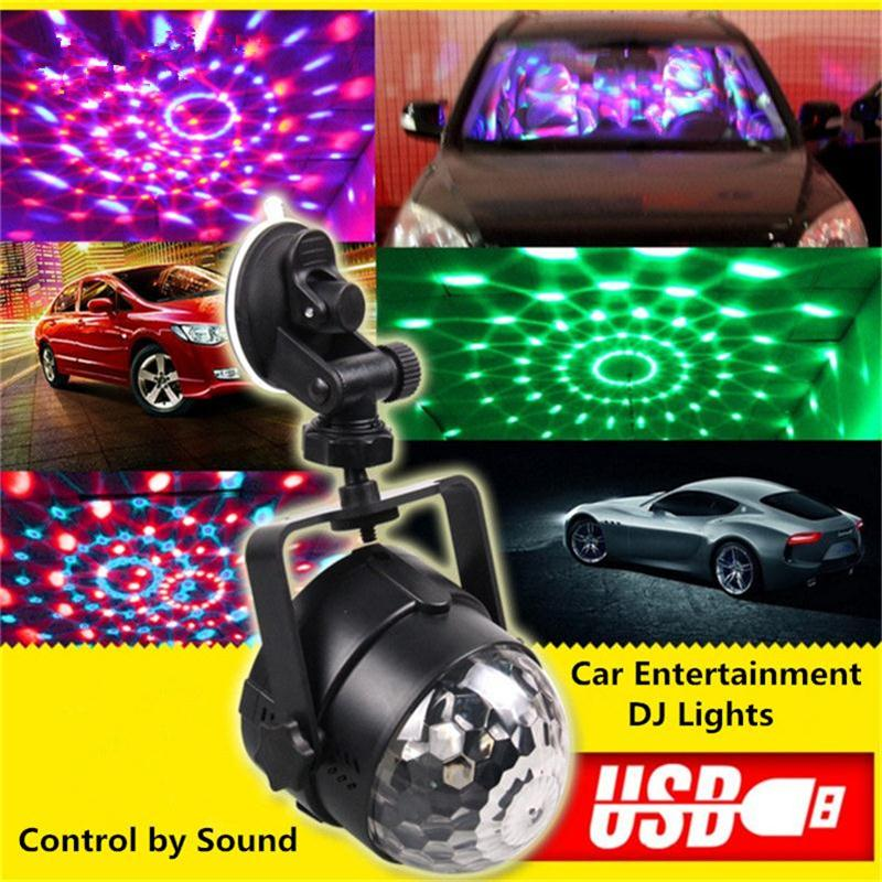 Outdoor Car Entertainment DJ Lights LED Mini Magic Crystal Ball USB Vehicle Charging Stage Lamps RGB Rotating Dance Party Light<br>