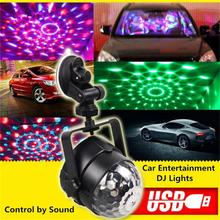 Outdoor Car Entertainment DJ Lights LED Mini Magic Crystal Ball USB Vehicle Charging Stage Lamps RGB Rotating Dance Party Light(China)