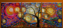 Hand Painted Abstract Landscape Tree Artwork Home Decor Wall Art Oil Painting Canvas Colorful Graffiti Acrylic Paintings 3 Panel