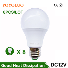 8PCS/LOT E27 LED Bulb Lights 3W 6W DC12V Led Lamp 9W 12W 15W Energy Saving Lampada 12 Volts Led Light Bulbs for Outdoor Lighting