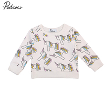 Hot Warm Autumn Winter Kids Baby Girl Clothes Cotton Long sleeve Sweatshirt Tops T-shirt Unicorn Toddler Kids Girls Clothing1-7Y