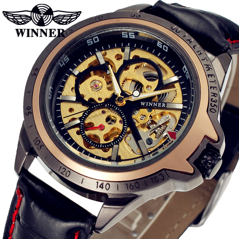 Fashion WINNER Men Luxury Brand Leather Skeleton Gold Classic Watch Automatic Mechanical Wristwatches Gift Box Relogio Releges<br><br>Aliexpress