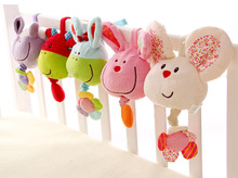 Cartoon Animal Baby Mobiles Rattles Plush Toys Bed Hanging Small Animal Baby Toys Appease Music Box Music Bell Hanging Bed Cart(China)