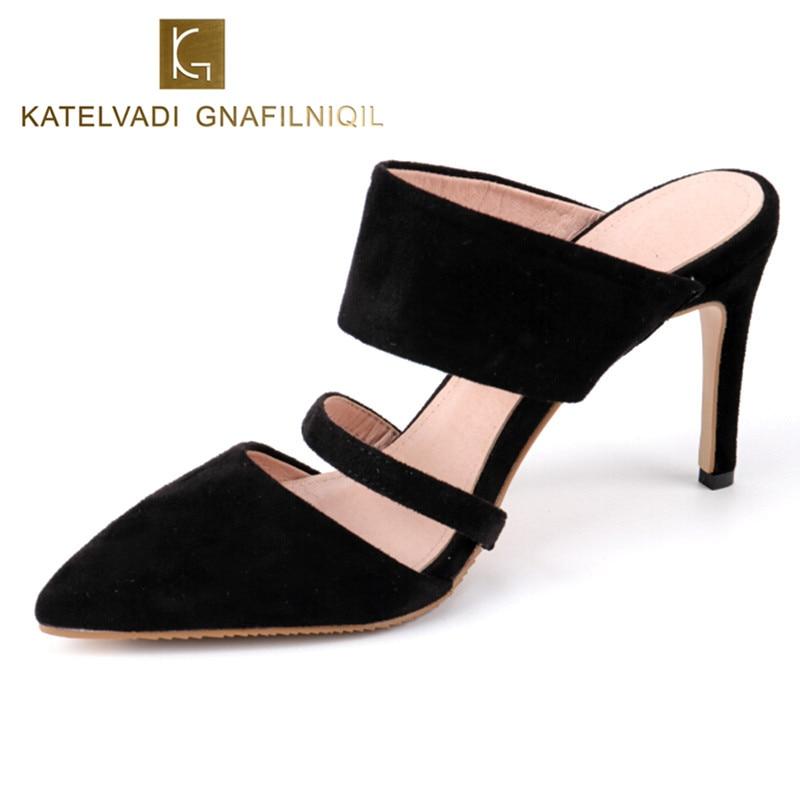 Summer Shoes Woman High Heels Sandals Black Slipper Sexy Flock Women Sandals Shoes Woman High Heels 8CM Heels Slipper K-019<br>