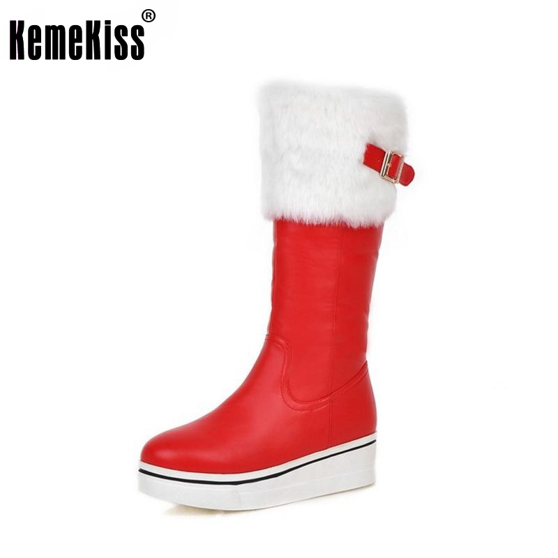 women wedge half short boot platform snow warm thickened winter mid calf boots fashion footwear shoes P21399 size 34-39<br>