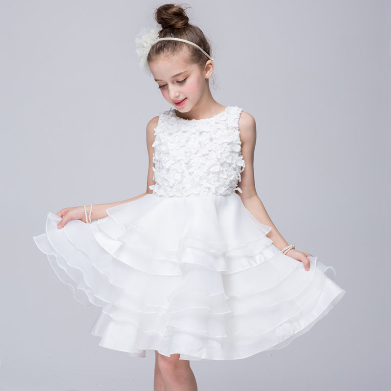 Age3 to 12Years Girls Dresses Summer 2017 High Quality Flower Girl Dresses For Party Wedding White Princess Dress Vetement Fille<br>