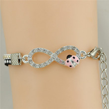 Fashion Style ladybird Women infinity Bracelet & Bangle Fashion Charm Braclet with Delicate Clasp Drop shipping
