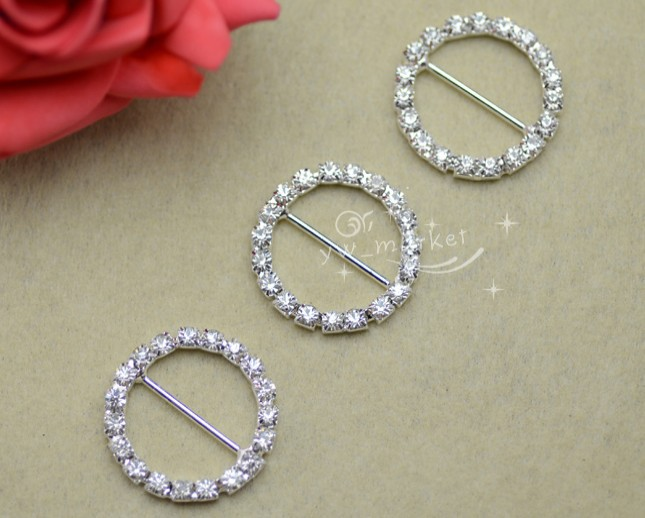 100 Pcs 29mm Round Rhinestone Buckle Invitation Ribbon Slider Wedding Supply LK06