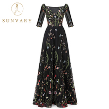 Sunvary Made-To-Order Vintage Flower Embroidery Dresses Tulle See-Through Red Carpet Dresses Pleated Long Celebrity Dresses(China)