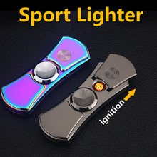 luxury Fingertip Gyroscope Lighter LED Hand Spinner Usb Rechargeable Electronic Cigarette Lighter Sport Windproof Lighters Gifts(China)
