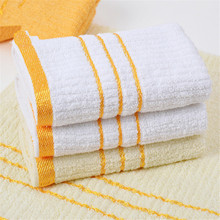 2017 Hand Towel Personalized Customized Hand Towel Cotton Striped White Yellow Absorbent Travel Hotel Towel Drop Shipping(China)