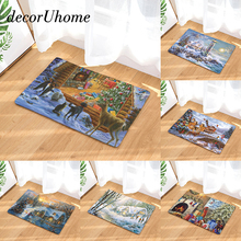 decorUhome Anti-Slip Waterproof Door Mat Christmas Day Deer Kitchen Carpets Bedroom Rugs Decorative Stair Mats Home Decor Crafts(China)