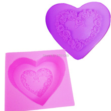 Love Heart Rose shaped wedding decoration silicone soap mold fondant sugar cooking tools mould DIY cake S039,7.2*6.5*2.5cm