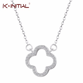Kinitial Four Leaf Clover Flower Pendants Necklaces Charms Chain Necklace 925 Silver Jewelry Zircon Cross Necklace for Woman