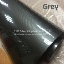 10/20/30/40/50/60x152CM Super Glossy Grey 5D Carbon fiber film with air bubbles 5D Grey Carbon vinyl sticker for Car wrapping