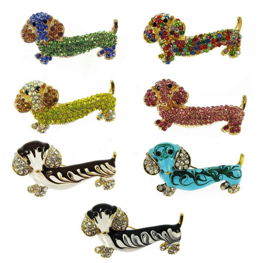 Beautiful Crystal Enamel Pin Dachshund Sausage Dog Brooch Fashion Jewellery