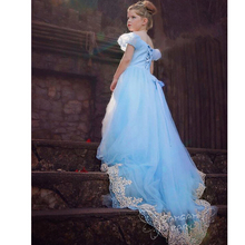 Kids Girls Long Dress New Girls Movie Cosplay Costume Fairy Cinderella Princess Dress Lace Fancy Bows Party Performances Dresses