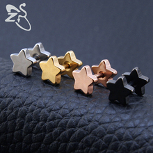 New Trendy Stainless Steel Barbell Ear Studs Classic Five-Pointed Star Earrings Sandblasted Screw Back Ear Piercing Body Jewelry(China)