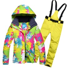 Dropshipping New Ski Suit Winter Sports Jacket Snowboard Wear Ski Jacket and Pants set Free Shipping outdoor snow suit for women(China)