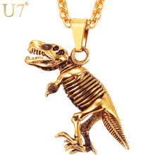 U7 Stainless Steel Tyrannosaurus Rex Pendant Necklace Gold/Black Color Dinosaur Bones Fossil Punk Animal Men Jewelry P1117(China)