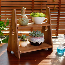2 Tier Solid Wood Desktop Plant flower Pot Herb Holder Stand Shelves Table top Storage Garden Desk furniture New Arrival