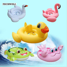 Cute Flamingo Frog Inflatable Ring Kids Bathing Circle Animal Swimming Circle Swimming Pool Accessories For 1- 6 Years Old Baby(China)
