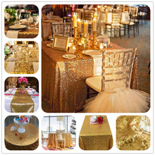 Direct Manufacturers Professional Custom Gold Wedding Sequin Piece Table Cloth Party Wedding Decoration 40''x60''