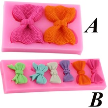 2 Style Cute Bows Silicone Mold Fondant Sugar Craft DIY Christmas Wedding Cake Decorating Tools Chocolate Candy Molds(China)