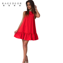 2017 summer new  Casual  A-Line O-neck women  dress solid  Cute Off the Shoulder ruffles mini dress sexy party elegant vestidos