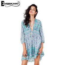Buy Everkaki Boho Dress Summer Women Bohemian Floral Print Loose Dresses Mini 2017 V Neck Beach Shirts dress Vestidos overalls for $13.13 in AliExpress store