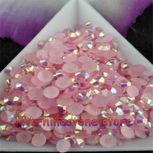 5000pcs/bag,SS16 4mm Light pink AB Color Jelly Resin Crystal Rhinestones Nail Art Applique painting rhinestone for nails DIY(China)