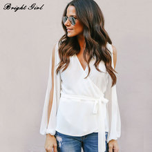 Buy BRIGHT GIRL Women Chiffon Summer Tops Causal Blouses Lady Clothing Long Sleeve V-Neck Blouse Femme Blusas Femininas 3 Colors for $13.83 in AliExpress store