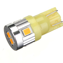 Hot Sale T10 W5W 194 168 6 SMD 2835 LED High Power Amber Yellow Car Auto License Plate Parking Lights Bulb Lamp DC12V