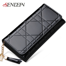 SENDEFN Large Capacity Lady Party Fashion Long Purse Patent Leather Women Wallets Female Clutch Bag Casual Card Holder Purse