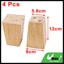 Home Wooden Furniture Cabinet Chair Couch Sofa Legs Feet Replacement Wood Color 4pcs(China)