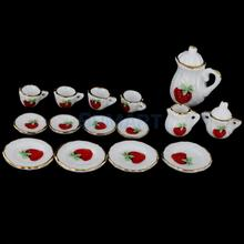 Dollhouse Miniature Dining Ware Porcelain Tea Set 15pc White with Strawberry(China)
