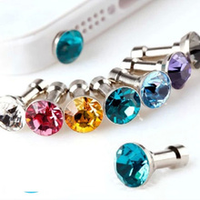 Brand new Crystal Bling Metal Anti Dust Plug 3.5mm Cell Phone Earphone Plug for iPhone Samsung Galaxy HTC Freeshipping